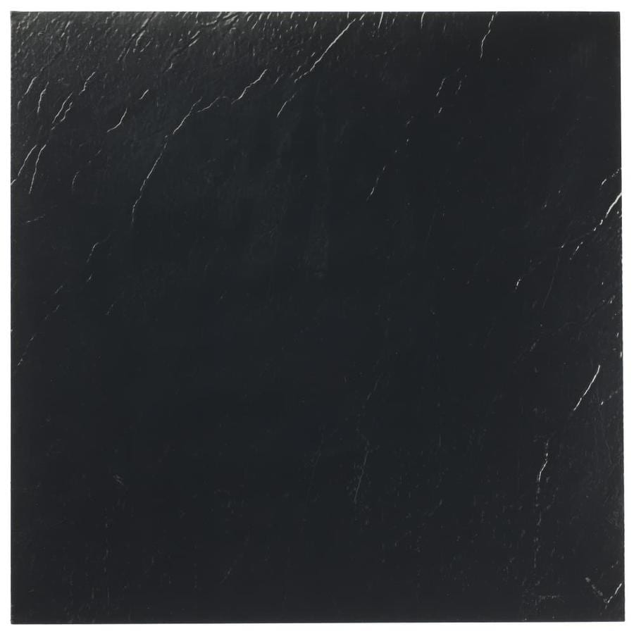 achim sterling black 12 in x 12 in water resistant peel and stick vinyl tile 20 sq ft lowes com