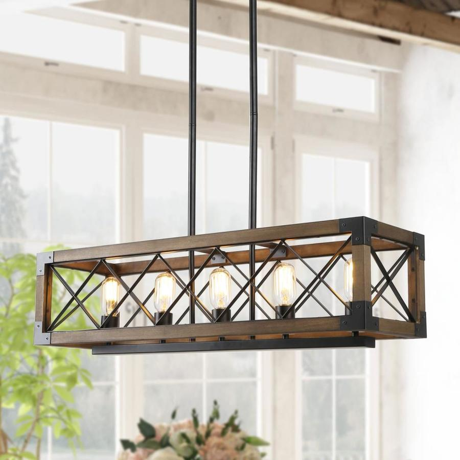 https www lowes com pd lnc livia nature wood brown and black farmhouse seeded glass linear kitchen island light 1002087430