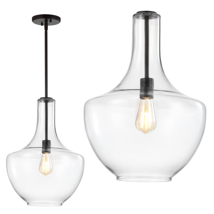 https www lowes com pd jonathan y oil rubbed bronze clear traditional clear glass deep bowl led pendant light 1002262330