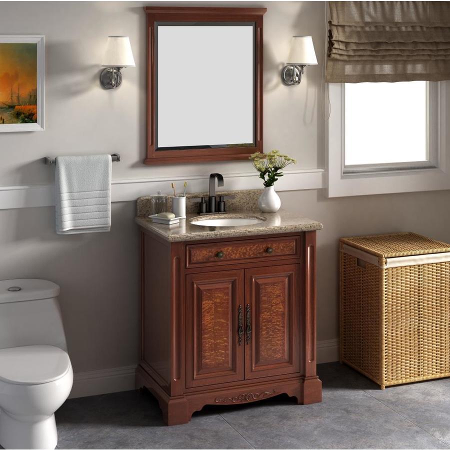 Windsor 32 In Brown Single Sink Bathroom Vanity With Royal Mahogany Granite Top Mirror Included In The Bathroom Vanities With Tops Department At Lowes Com