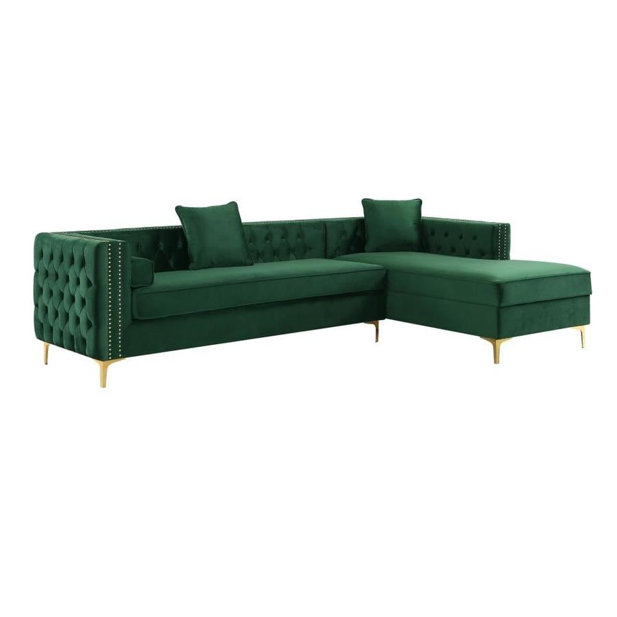 inspired home olivia glam hunter green velvet sectional in the couches sofas loveseats department at lowes com