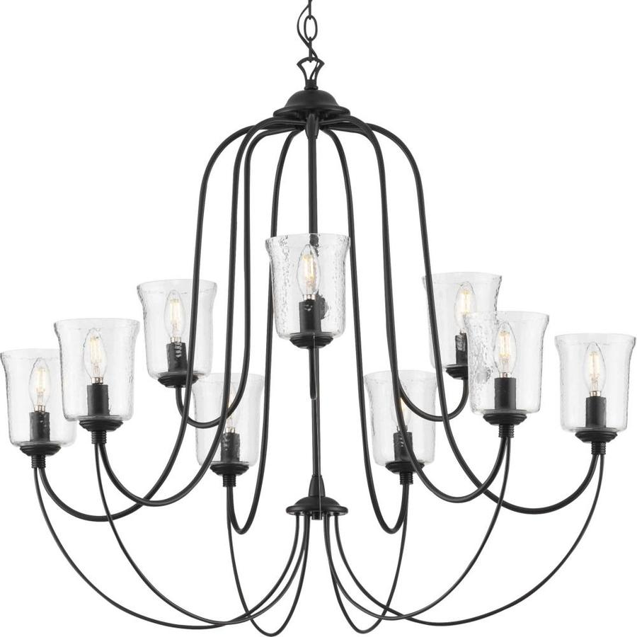 progress lighting bowman 9 light black coastal chandelier