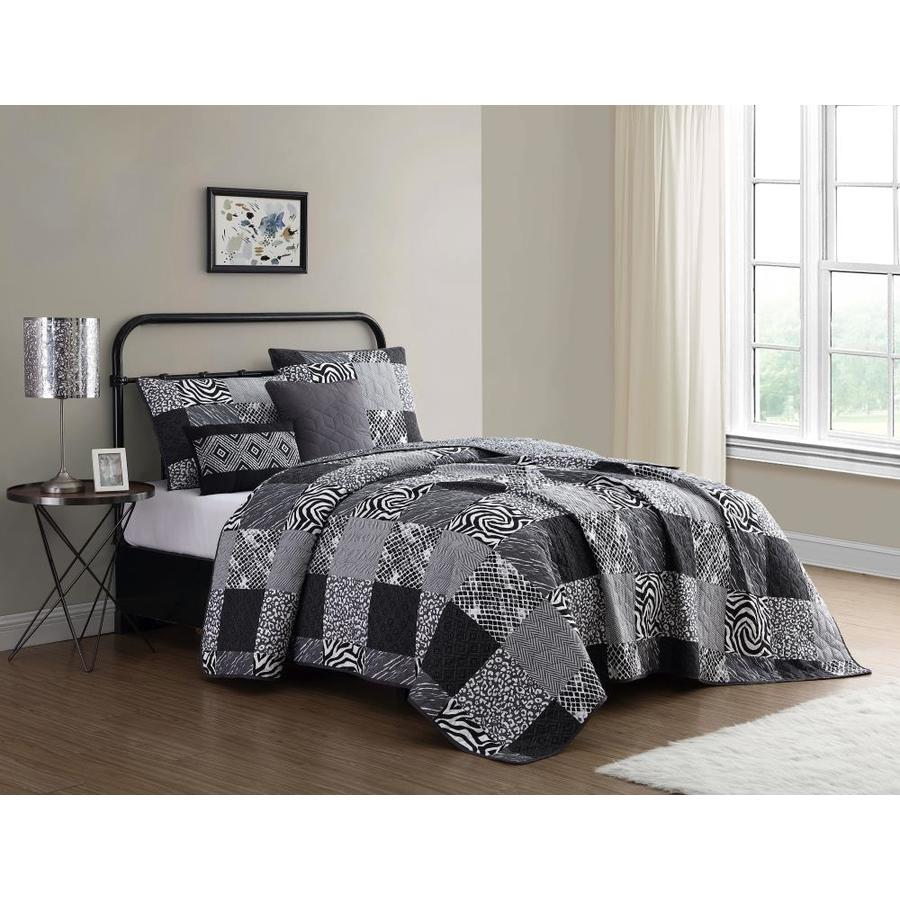 geneva home fashion ziva 4 piece black white grey twin quilt set in the bedding sets department at lowes com