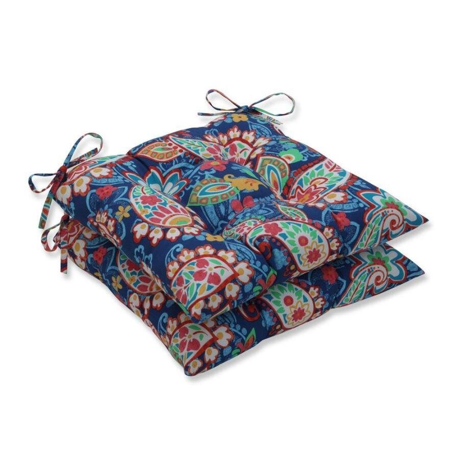 pillow perfect paisley party blue 2 piece blue patio chair cushion