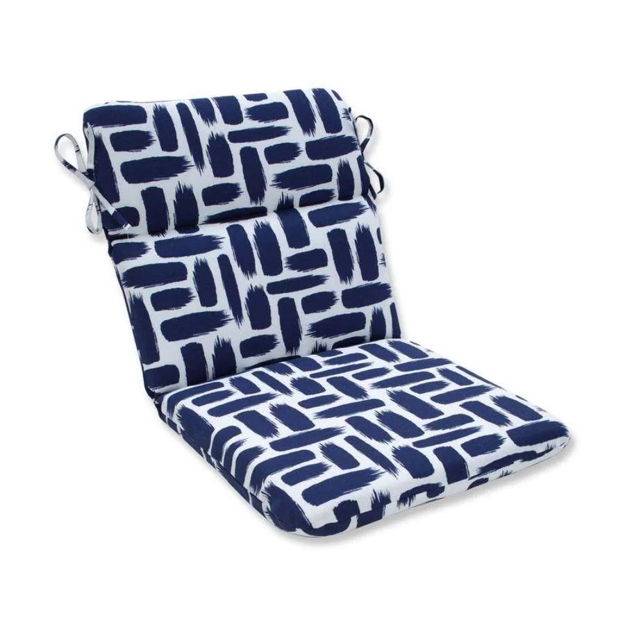 pillow perfect baja nautical blue patio chair cushion