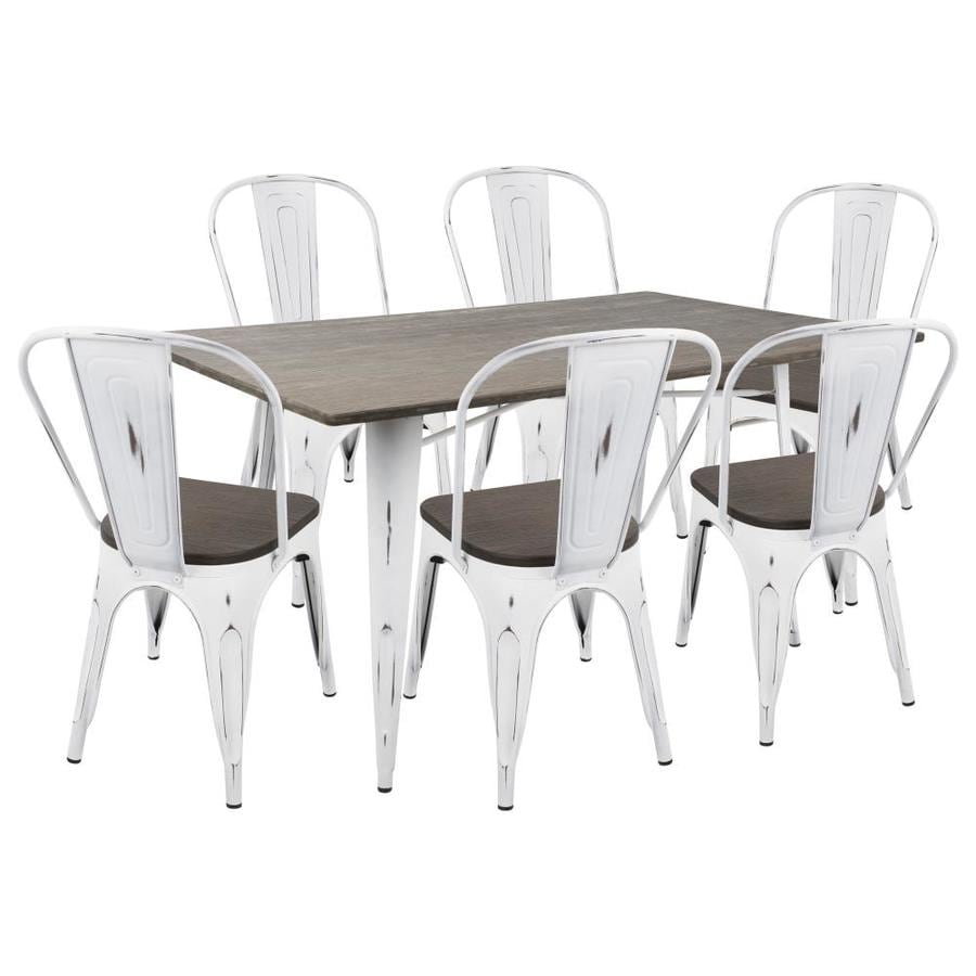 Lumisource Oregon 7 Piece Industrial Farmhouse Dining Set In Vintage White And Espresso By Lumisource In The Dining Room Sets Department At Lowes Com