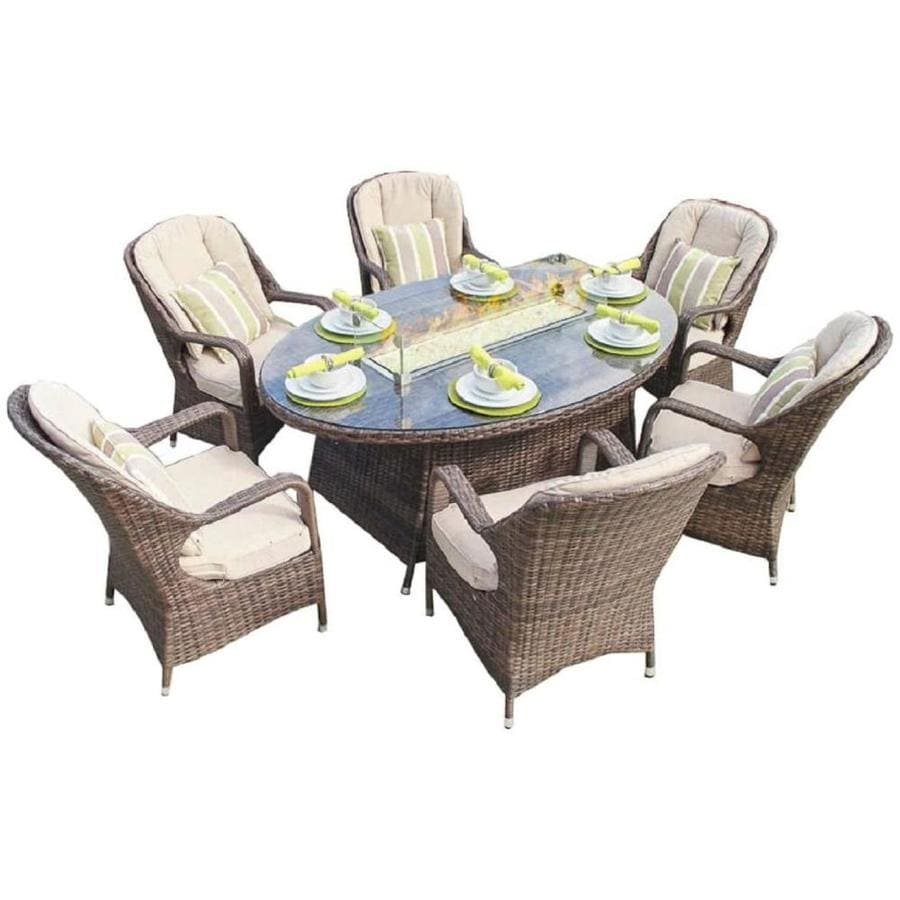 cm 4268 living source rattan wicker outdoor patio furniture with firepit table for garden 8 pc resort grade fire pit set camden brown fire pit furniture set pool and patio fully assembled patio