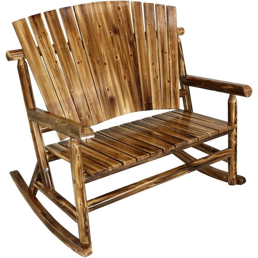sunnydaze decor 2 person brown wood outdoor glider