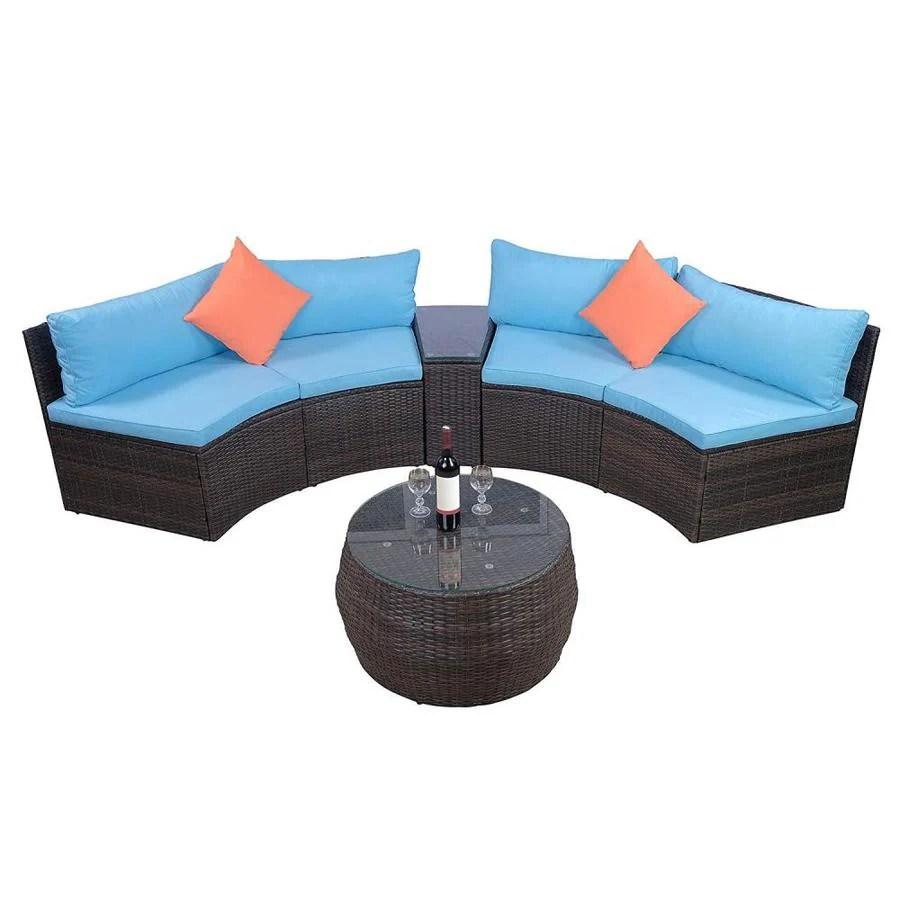 casainc patio furniture 6 piece metal frame patio conversation set with cushion s included