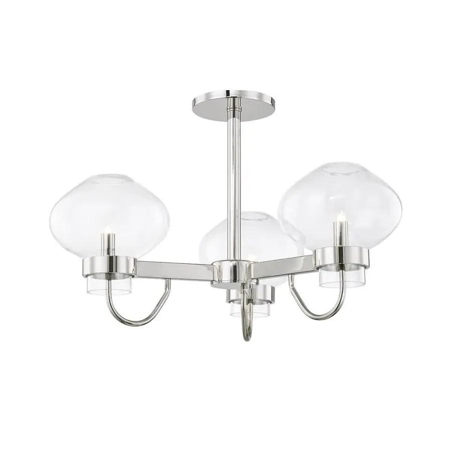 mitzi by hudson valley lighting korey 24 in polished nickel modern contemporary xenon semi flush mount light
