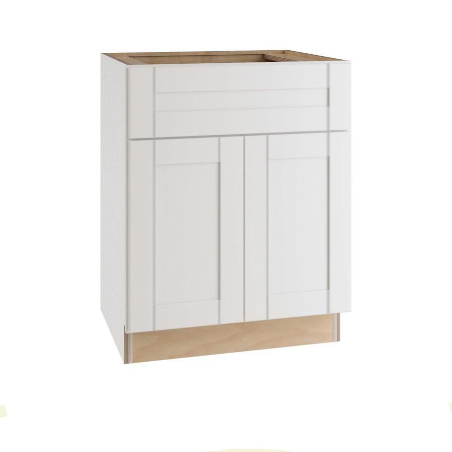 ideal cabinetry 30 in w x 34 5 in h x 24 in d vinyl white birch sink base semi custom cabinet