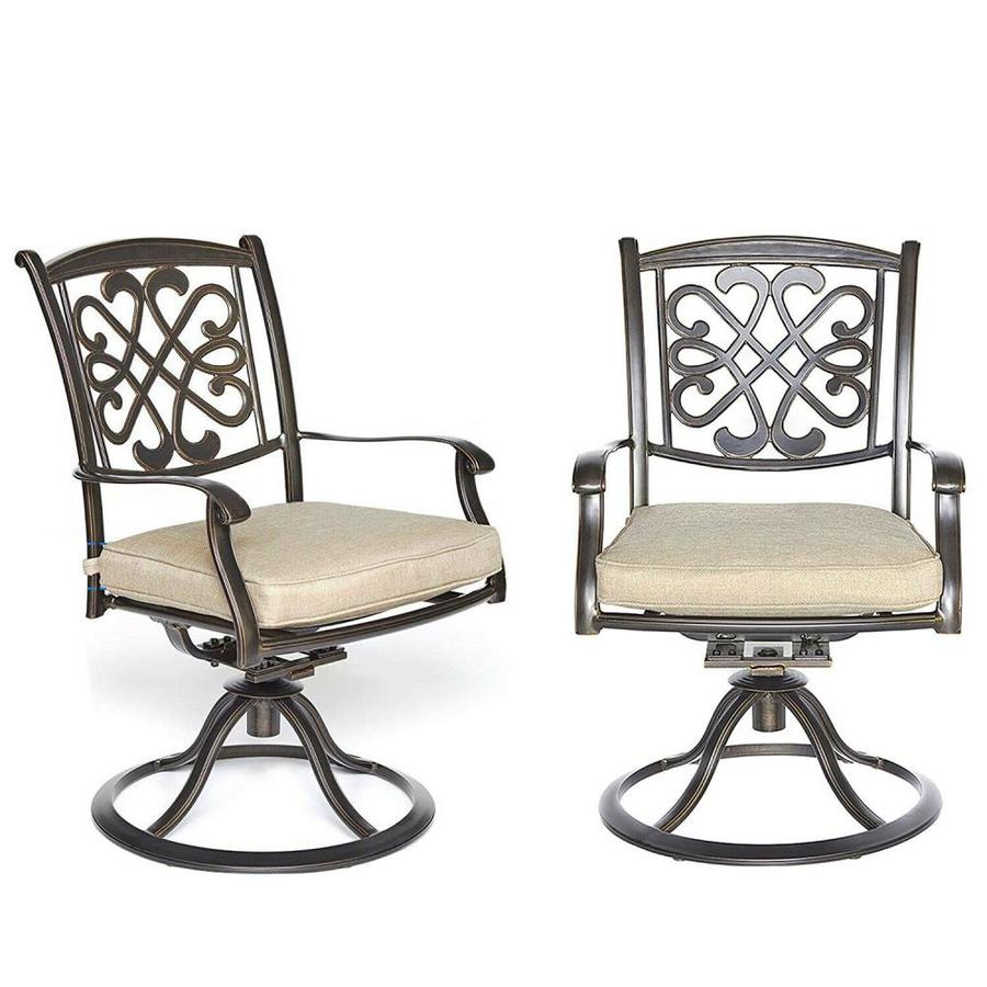 casainc outdoor patio chair set of 2 brown metal frame swivel bar stool chair s with sling seat seat