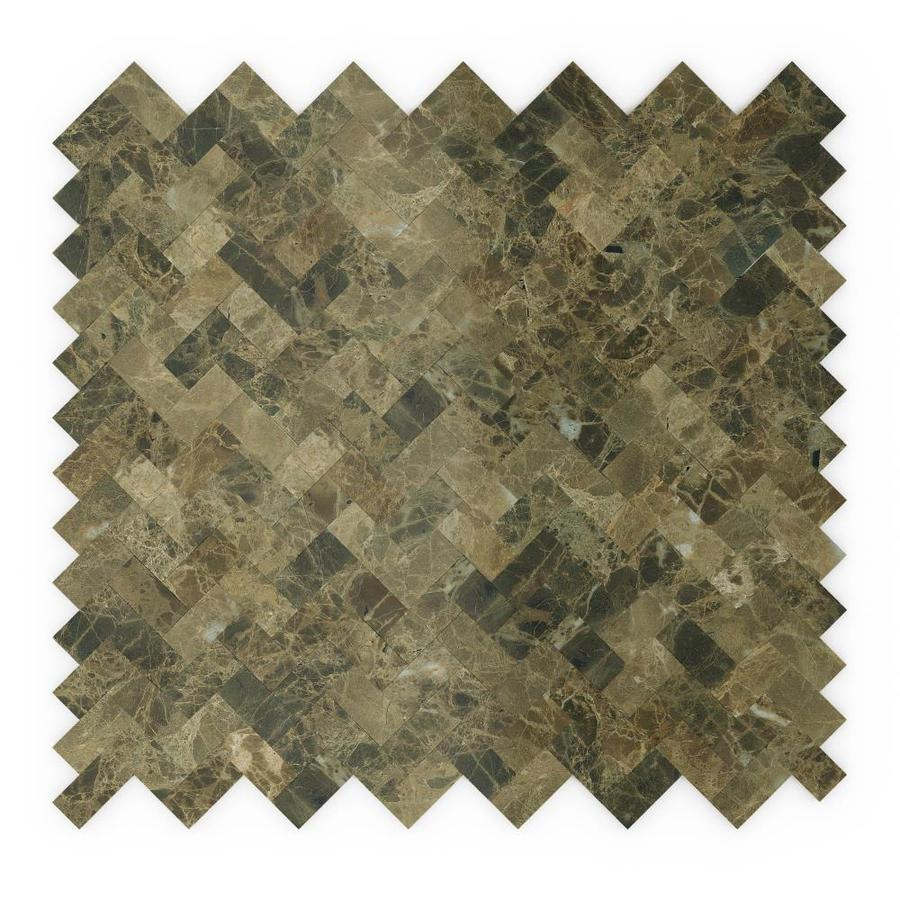 speedtiles moka peel and stick 6 pack brown 12 in x 12 in polished natural stone herringbone peel and stick wall tile