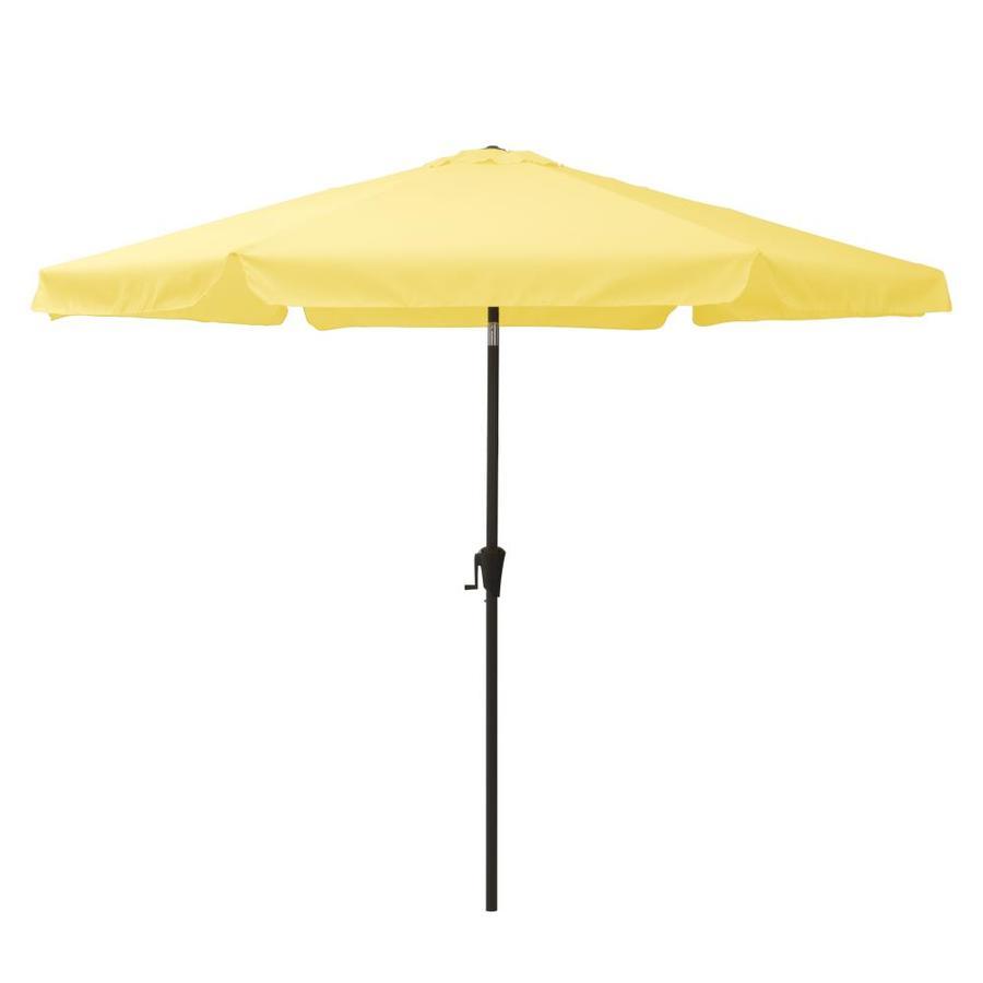 corliving 10 ft solid yellow push button tilt market patio umbrella
