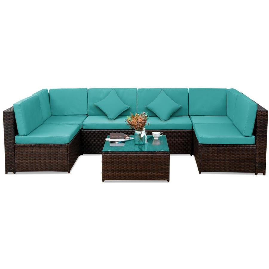 kinwell kinwell outdoor patio furniture 7 piece resin frame patio conversation set with cushion s included