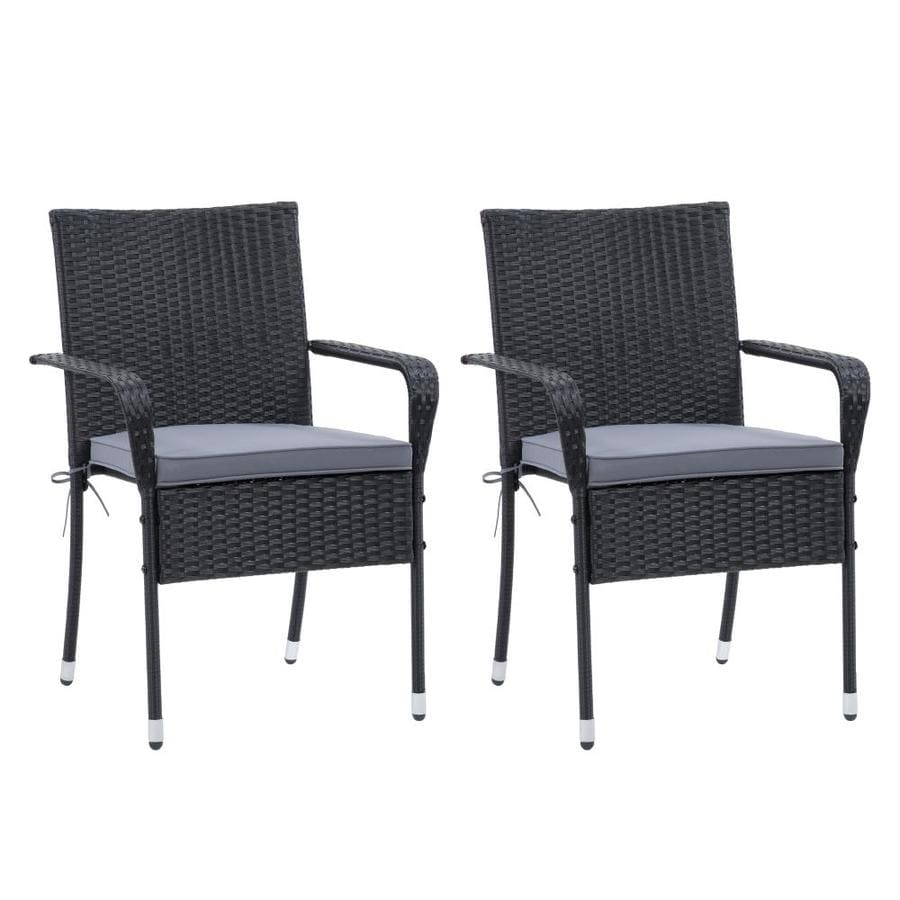 corliving parksville set of 2 wicker stackable black metal frame stationary dining chair s with cushioned seat