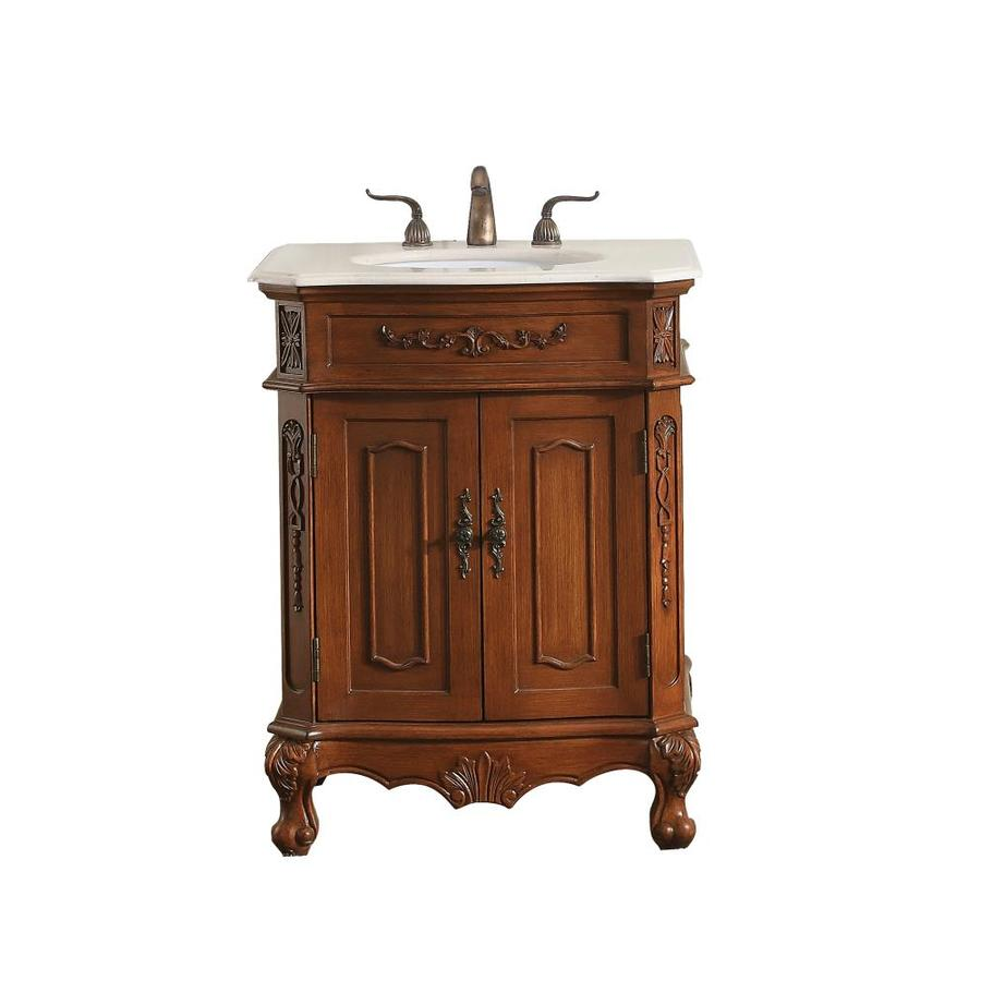 elegant decor first impressions 27 in brown undermount single sink bathroom vanity with cream marble top