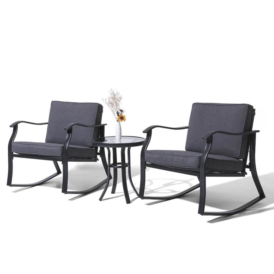 crestlive products patio bistro set 3 piece metal frame patio conversation set with cushion s included