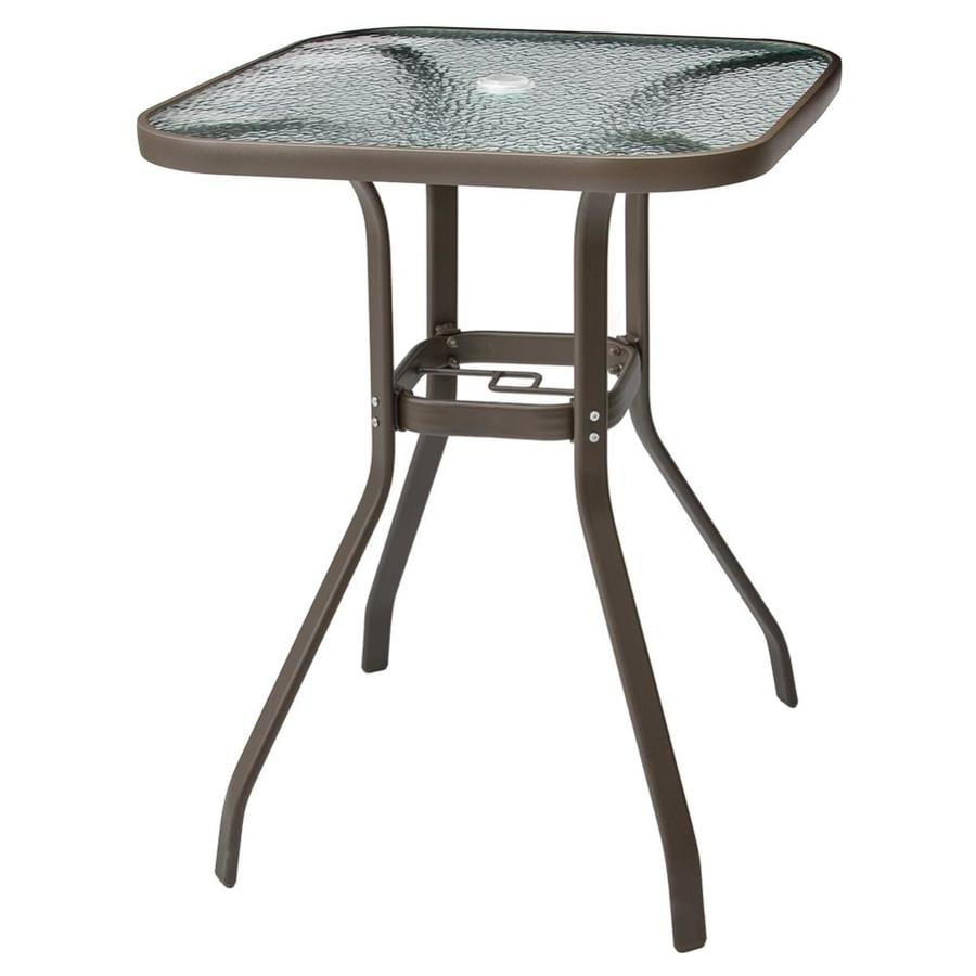 crestlive products patio bar table square outdoor bar height table 26 77 in w x 26 77 in l with umbrella hole