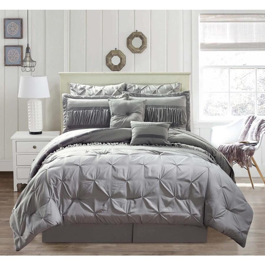 duck river textile marlin 10 piece silver queen comforter set in the bedding sets department at lowes com