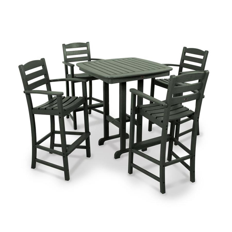 https www lowes com pd polywood la casa 5 piece green frame bar height patio set with bar height 1002845478