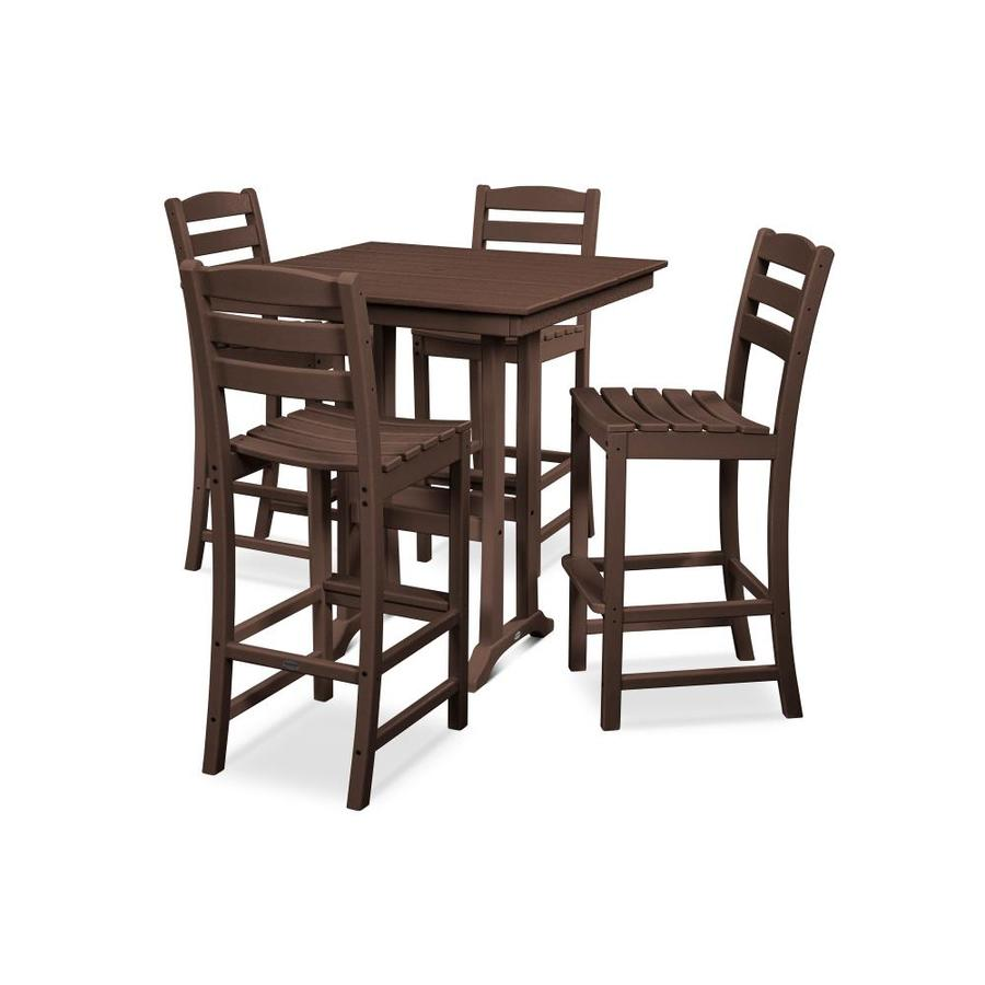 https www lowes com pd polywood la casa 5 piece brown frame bar height patio set with bar height 1002851016
