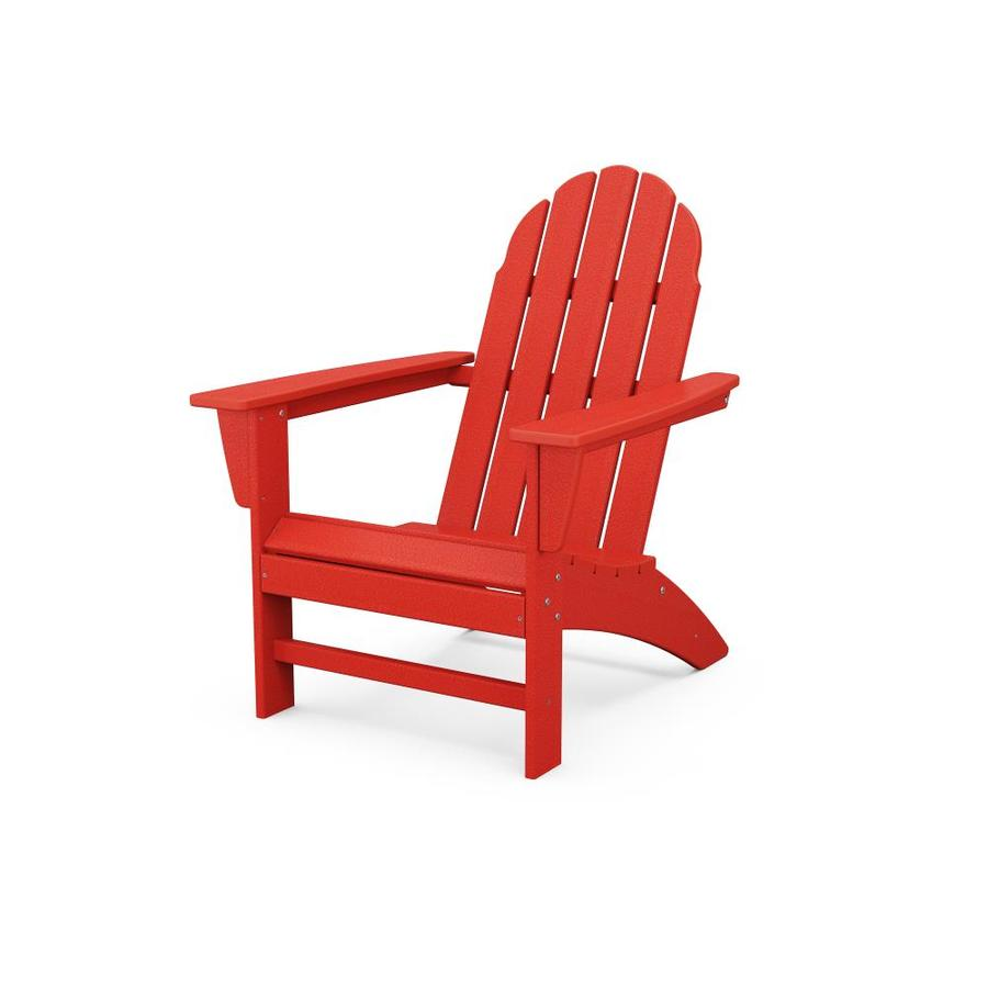 trex outdoor furniture seaport sunset red plastic frame stationary adirondack chair s with slat seat seat