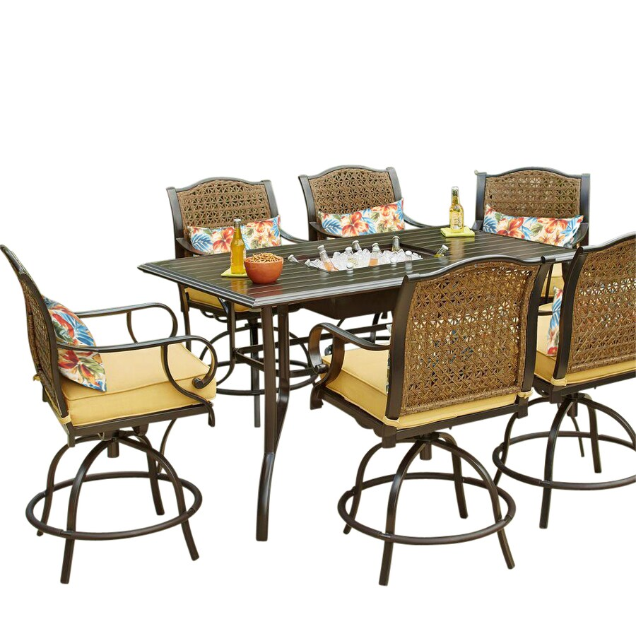 royal garden fernbrooke 7 piece brown frame patio set with yellow olefin cushion s included