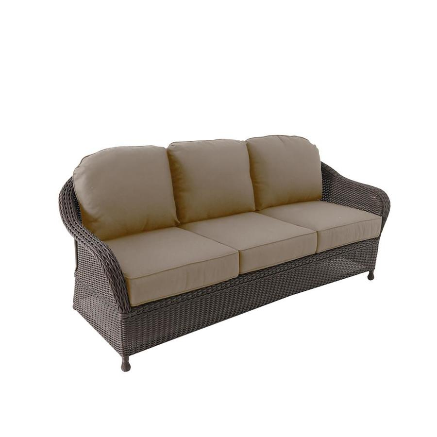 allen roth mcaden wicker outdoor sofa with cushion s and tan steel frame