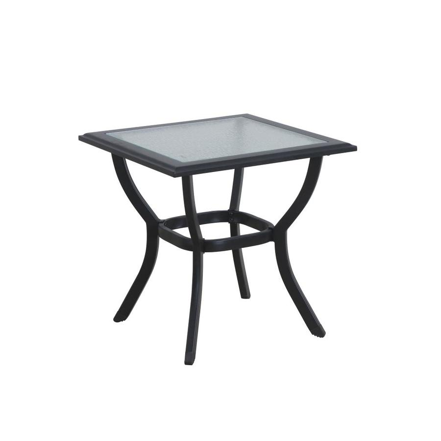 style selections glenn hill square rattan outdoor end table 20 08 in w x 20 08 in l with