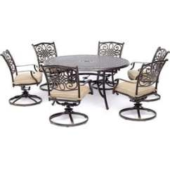 Outdoor High Top Table And Chairs Set Office Chair On Wood Floor Protector Patio Dining Sets At Lowes Com Hanover Traditions 7 Piece In Tan With A 60 Round Cast