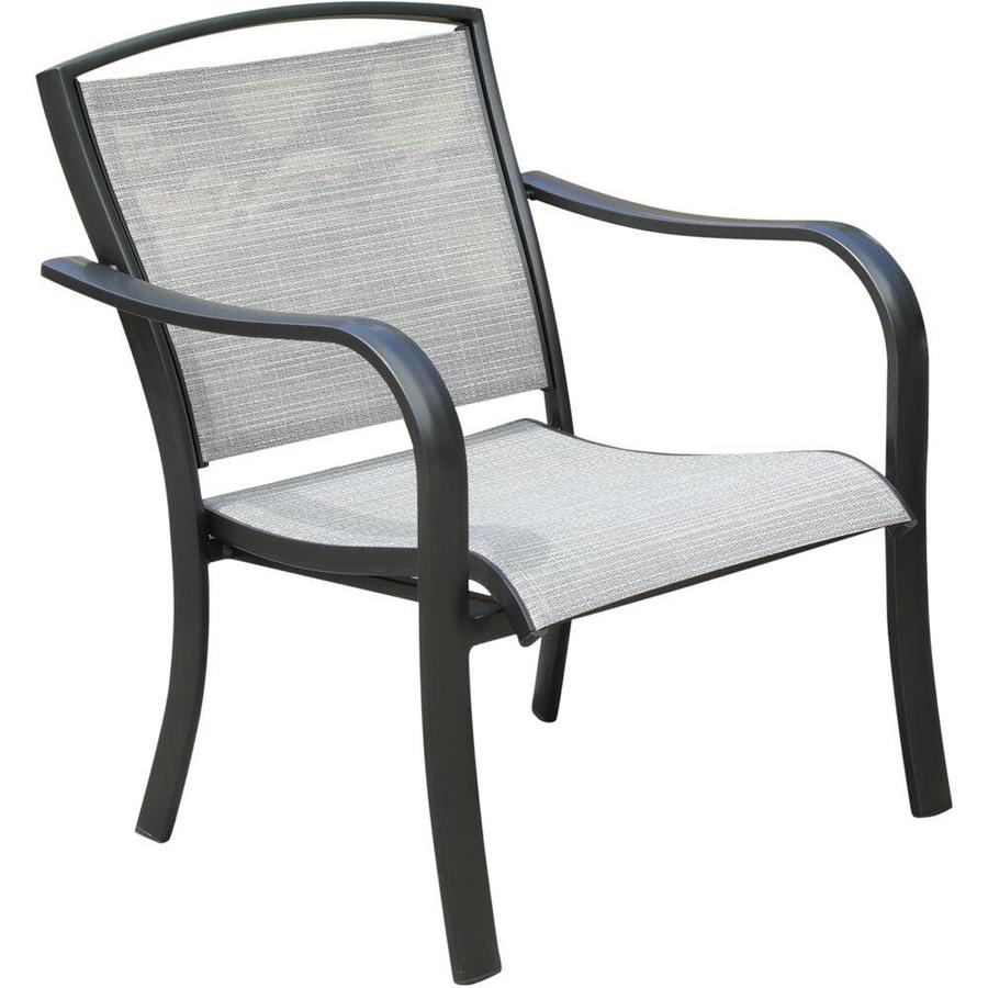 hanover foxhill stackable gunmetal ash sling metal frame stationary conversation chair s with gunmetal ash sling hanover sling seat
