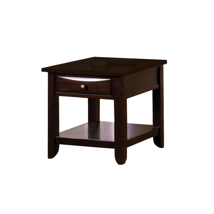 furniture of america baldwin espresso wood end table
