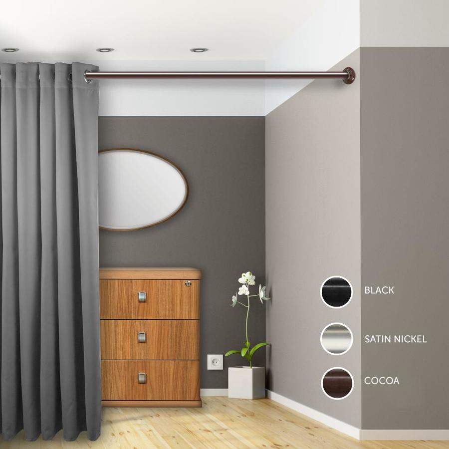hart harlow 1 5 in room divider rod and socket 66 in to 115 in cocoa steel single curtain rod