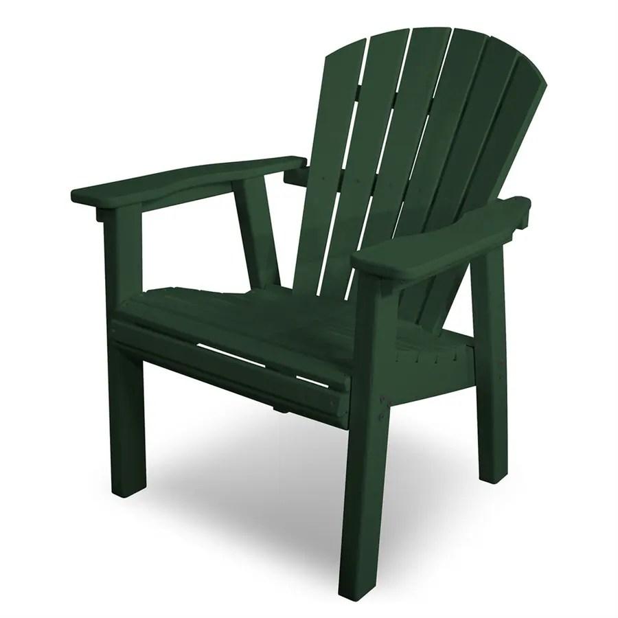 POLYWOOD Seashell Green Plastic Patio Adirondack Chair at
