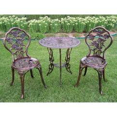 Wrought Iron Chairs Lowes Dining Set With Fabric Oakland Living Tea Rose 3-piece Bronze Metal Frame Bistro Patio At Lowes.com