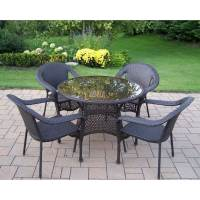 Shop Oakland Living Elite Resin Wicker 5-Piece Dining ...