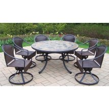 7 Piece Patio Dining Set with Swivel Chairs