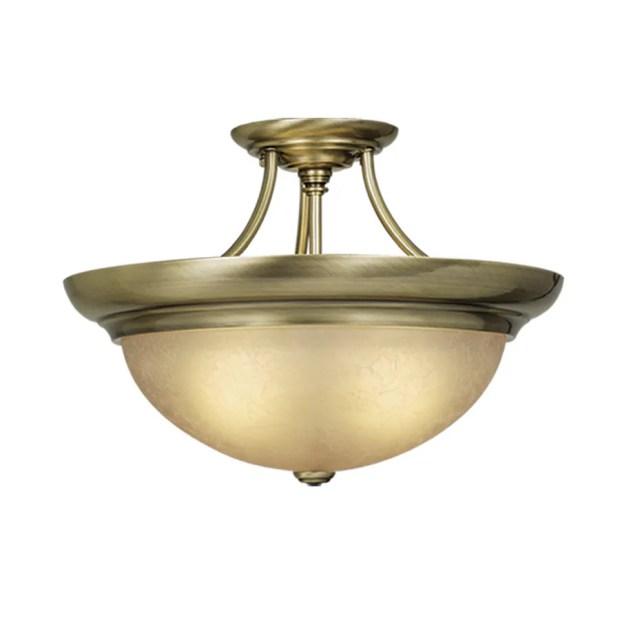 Antique Brass Semi Flush Ceiling Light