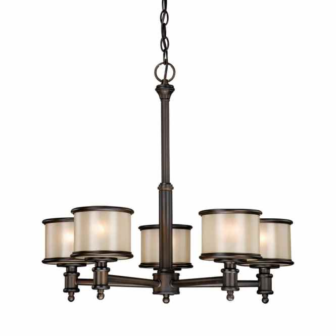 Cascadia Lighting Carlisle 24 In 5 Light Le Bronze Craftsman Tinted Glass Shaded Chandelier