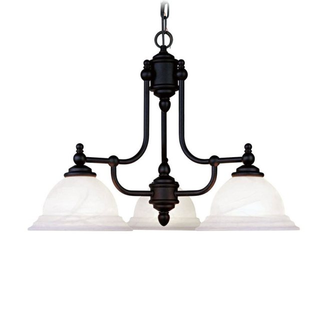 Livex Lighting Northport 24 In 3 Light Black Country Cottage Alabaster Glass Shaded Chandelier