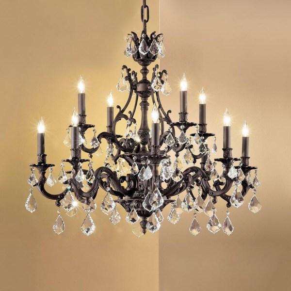 Classic Lighting Majestic 12-light Aged Bronze Crystal