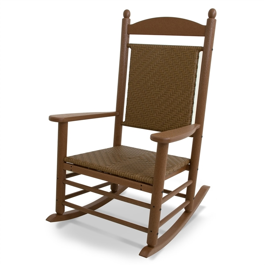 Shop POLYWOOD Jefferson TeakTigerwood Plastic Patio Rocking Chair at Lowescom