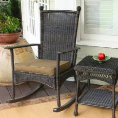 Wicker Rocking Chairs Office Chair Back Support Tortuga Outdoor Portside Steel With Khaki Cushion