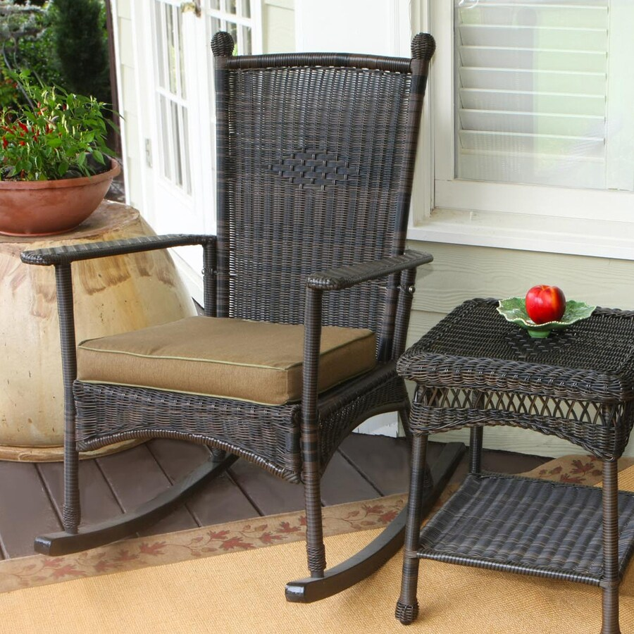 wicker rocking chairs desk chair light blue tortuga outdoor portside steel with khaki cushion