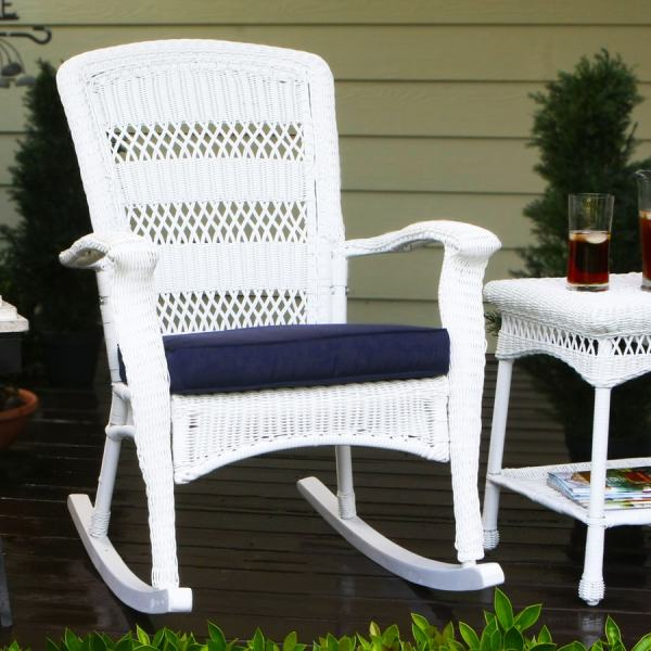 Outdoor White Wicker Rocking Chair