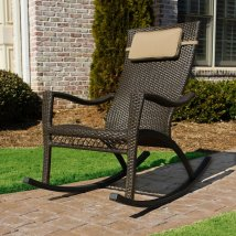 Tortuga Outdoor Wicker Aluminum Rocking Chair With Woven