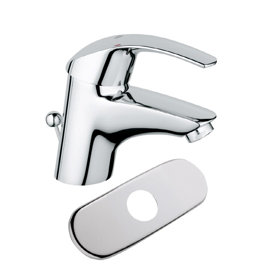grohe eurosmart chrome 1 handle single hole watersense bathroom faucet drain included