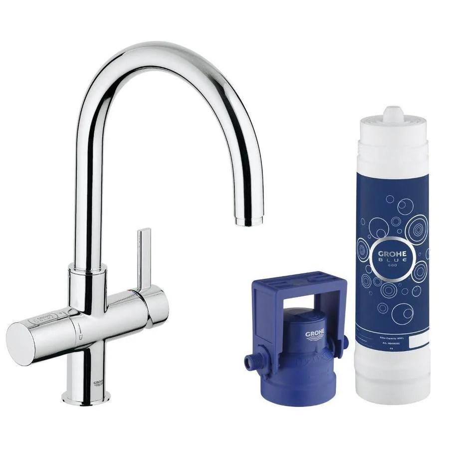 grohe kitchen faucets lowes concrete countertops shop blue chrome 1-handle deck mount high-arc ...