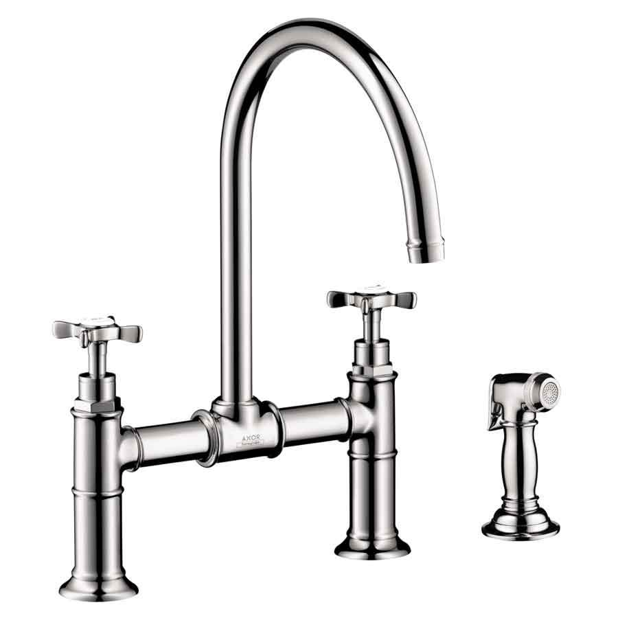 axor kitchen faucet hood hansgrohe chrome high arc with side spray
